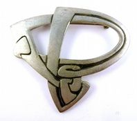 Vintage Large Pewter Stylised Celtic  Brooch By St Justin.